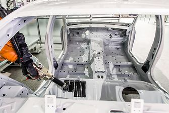 car body in production assembly